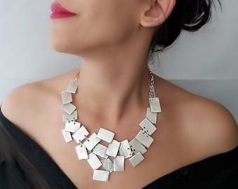 Bohemian Necklace-Silver Boho Necklace-Silver Statement Necklace-Silver Long Necklace-Unique Necklace-Antique Silver Necklace-Coin Necklace