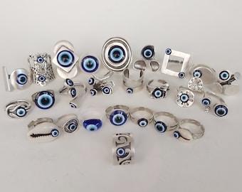 Blue evil eye ring Evil eye jewelry Protection rings Adjustable ring Silver eye ring Greek evil eye Stackable rings Minimal ring Simple ring