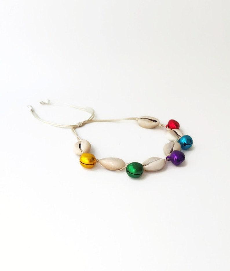 Colored bell anklet Boho Anklet Jingle Bells Ankle Bracelet for Woman,puka shell anklet Bracelet bohomila Sea shell and bell anklet