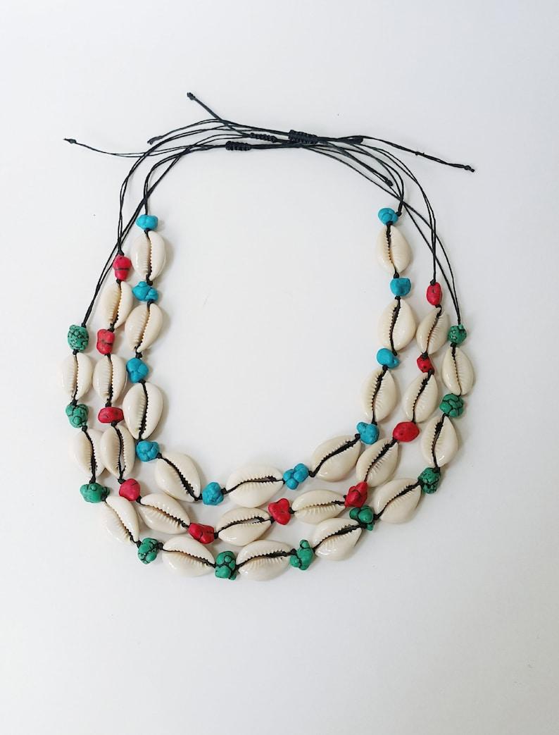 Shell choker necklace Seashell choker necklace Beach jewelry Cowrie shell choker Beach turquoise choker Summer necklace Boho necklace