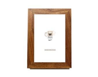 5x7 Walnut Frame - Wooden Photo Frame - Home Decor - Handmade Natural Wood Frames - Wedding Gift - Leaning Frame - Picture Frame