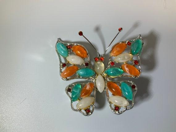 HUGE-Vintage Rhinestone Butterfly BROOCH
