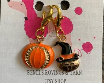 Progress Keepers - Stitch Markers - Halloween Cat/Pumpkin