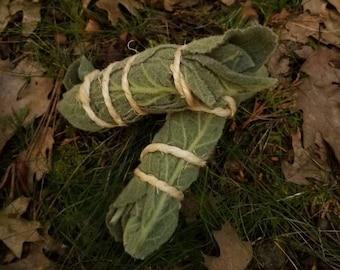 Four Mullein Smudge Sticks, Herb Aromatherapy, Herbal Smudge Stick, Elvish Healing, Protection Bundle