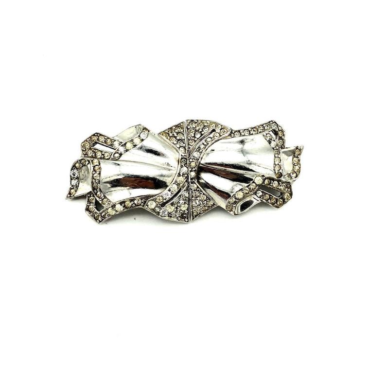 Art Deco Jewelry Antique Art Deco Brooch Fur Duette Dress Clips Classic Silver Diamante Ribbon Feminine Rhinestone Vintage Brooch Pin