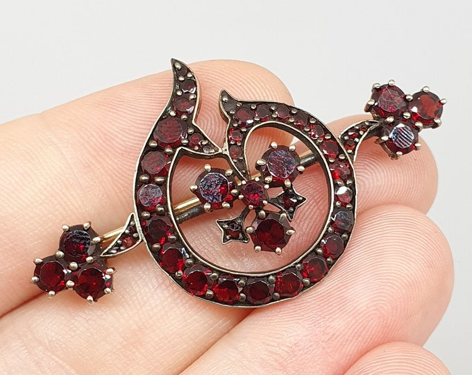 Antique Victorian Bohemian Garnet Brooch Pin 9ct 9k Gold Solid Silver Gilt Pyrope Genuine Red Gemstones Vintage Womens Jewellery Jewelry