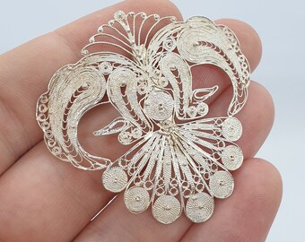 french antique art deco filigree sterling silver 800 solid silver large brooch hand made solid silver floral brooch pin