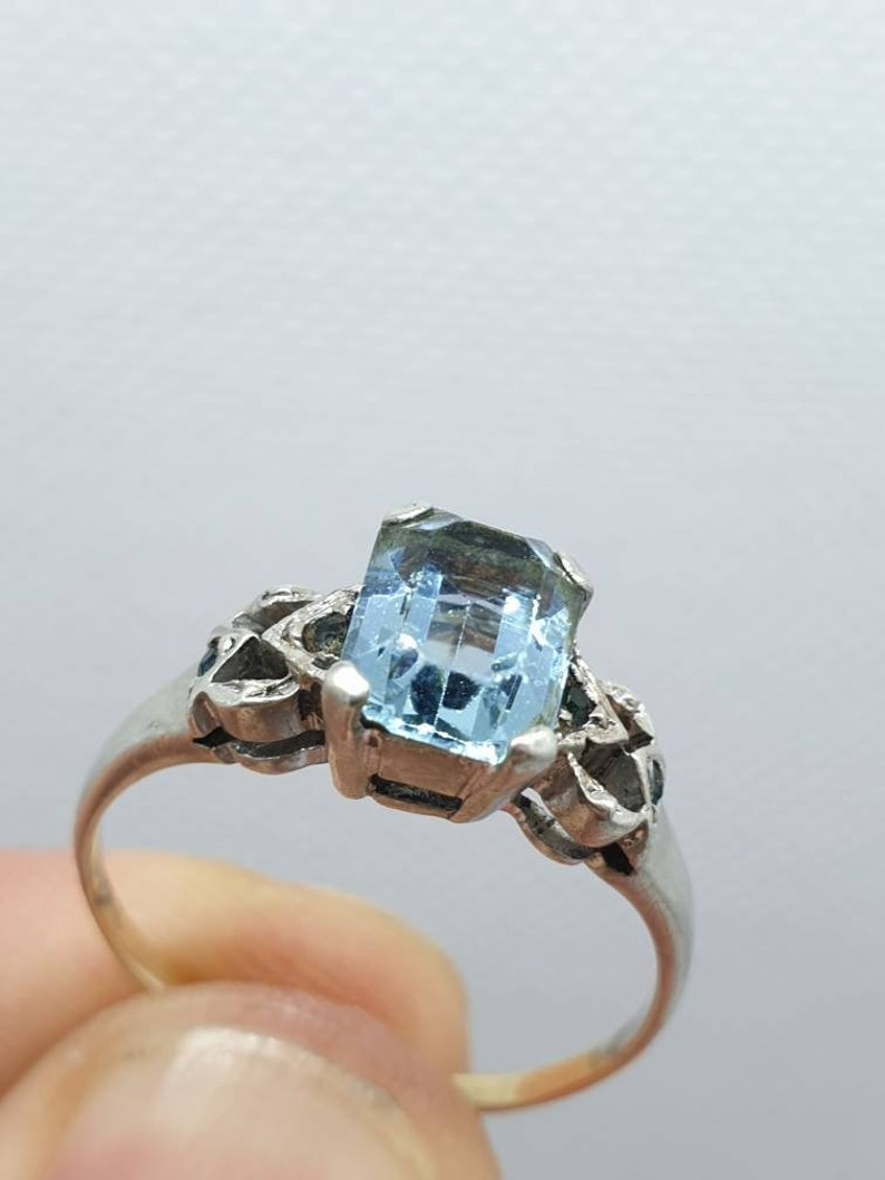 Old Vintage Aquamarine 9k ct carat Gold /& Solid Silver Ring Rectangular Square Stacker Stacking Ladies Womens Jewelry Jewellery UKP.5 US8