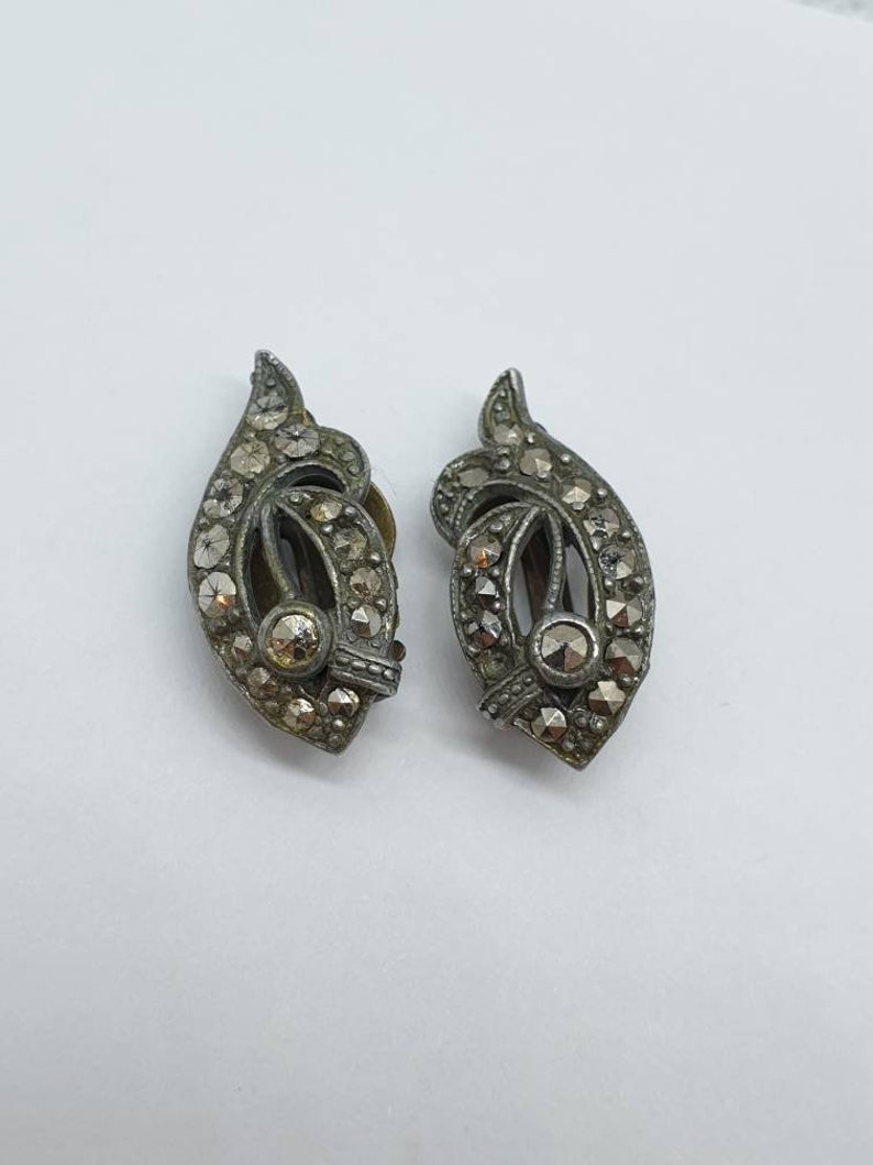 Old Vintage Marcasite Silver Tone Clip On Earrings Wing Bow Shape Stamped Sparkly Elegant Swirl Womens Ladies Jewelry Vintage Jewellery