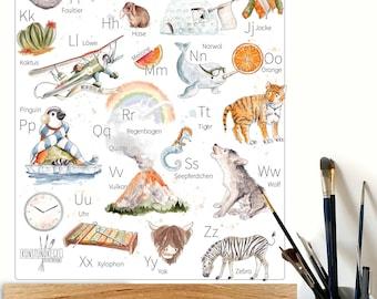 Letter poster, abc poster, enrollment poster, preschoolers, artandcone, animal alphabet, auqarell colors, animal love