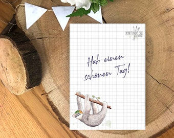 sloth, lists, notes, writing, messages, art cones, shopping lists, to-do list