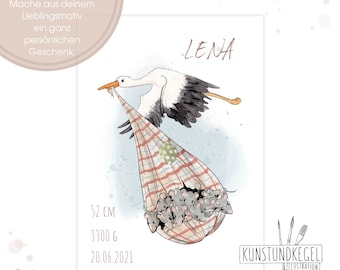 Individualized Art Print Stork Mice Children's Room Gift Picture Poster new kunstundkegel watercolor Deco print art Farm