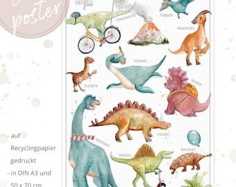 Dinoposter, Dinosaur Poster, Preschoolers, Art Bowl, Tyrannosaurus, Stegosaurus Watercolor Paints, Image, Art Print