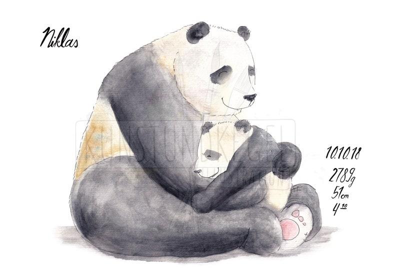Customized art print panda cuddle baby gift birth nursery image 0