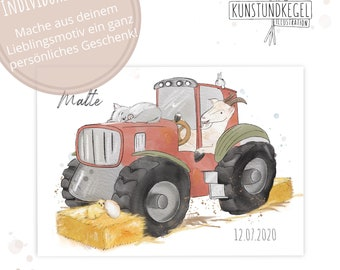 Customized Art Print Tractor Children's Room Gift Picture Poster new kunstundkegel watercolor Decoration print art Farm