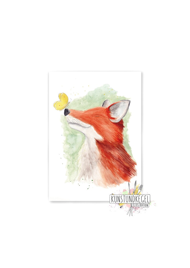 Fridolin spring fox art print gift nursery babyroom picture image 0