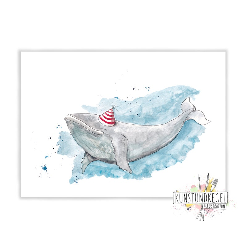 Benni humpback whale art print nursery décor whale art and image 0