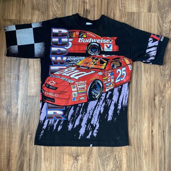 NASCAR All Over Print Shirt Large Vintage 1995 Ken