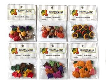 Buttons Galore 70+ Assorted Autumn Buttons for Sewing, Crafts and Scrapbooking - Set of 6 Button Packs - Leaves, Pumpkins, Sunflowers & More