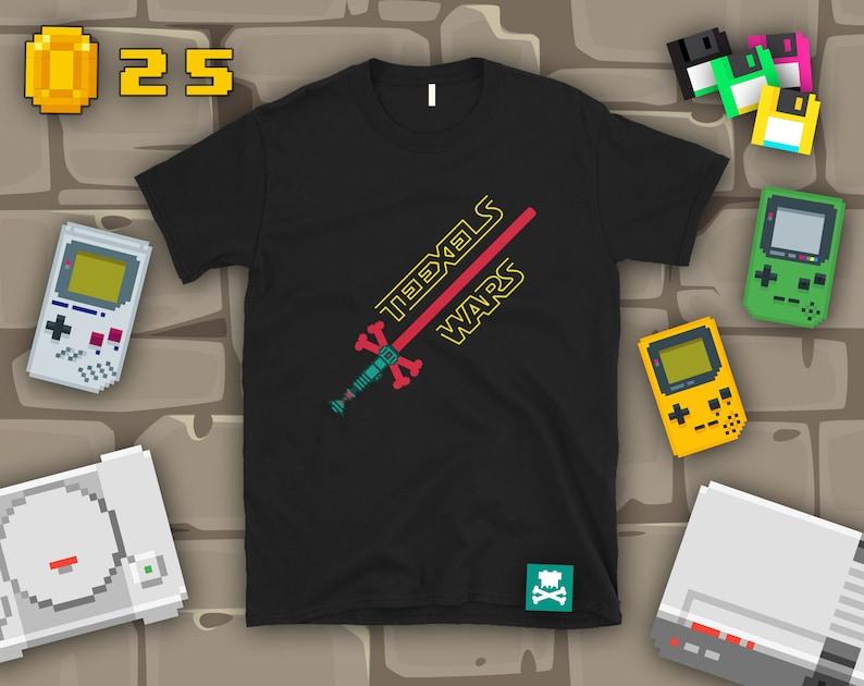 Teexels Wars  Crossbones Lightsaber T-Shirt image 0