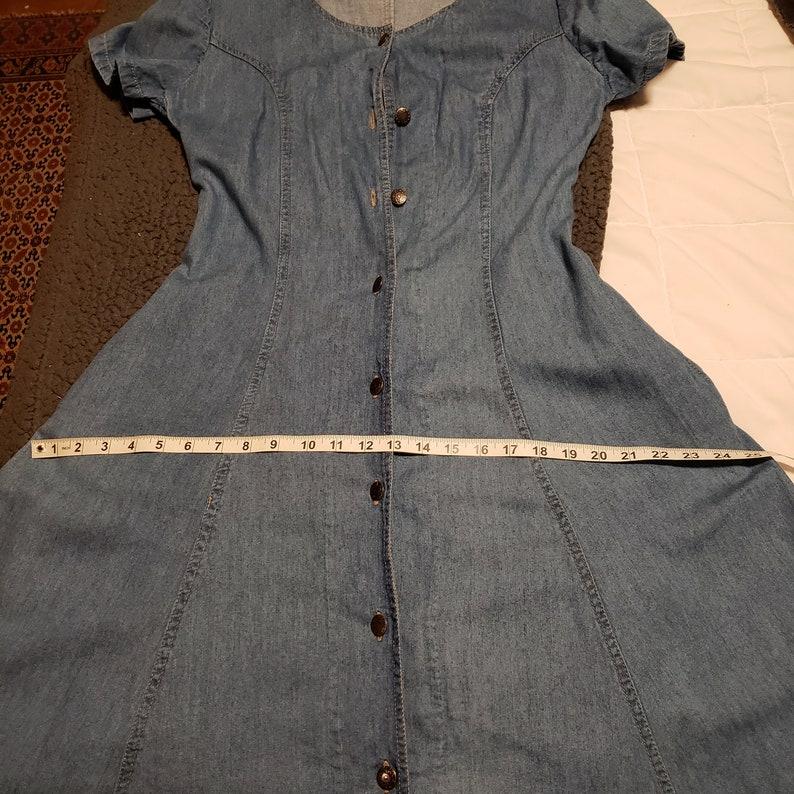 Vintage Blue Jean Denim Shirtwaist 80s Dress