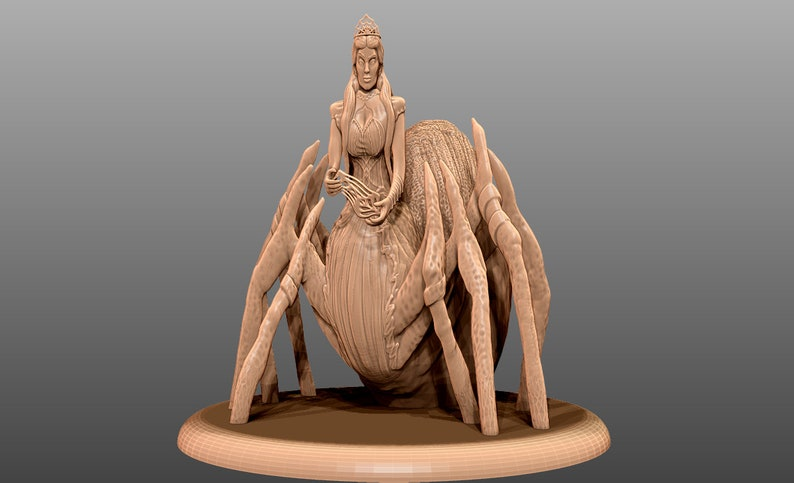 Tabletop Spider Queen Miniature 3D Printable STL *NOT a physical print digital file only*