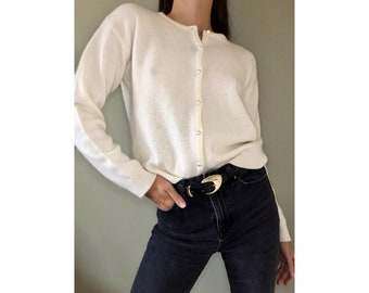 Vintage 50s women/'s wool ivory silk-lined beaded sweater white and clear glass beads and faux pearls by Paramount Siz 36 Faux Pearl Buttons