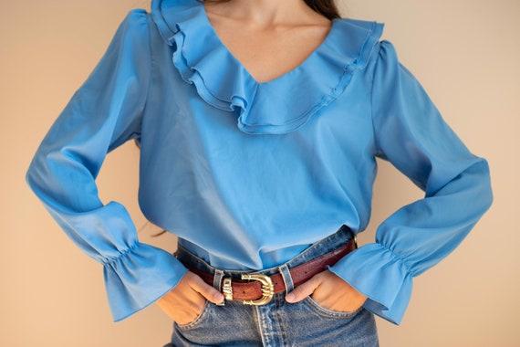Vintage cornflower blue ruffle collar puff bell sl