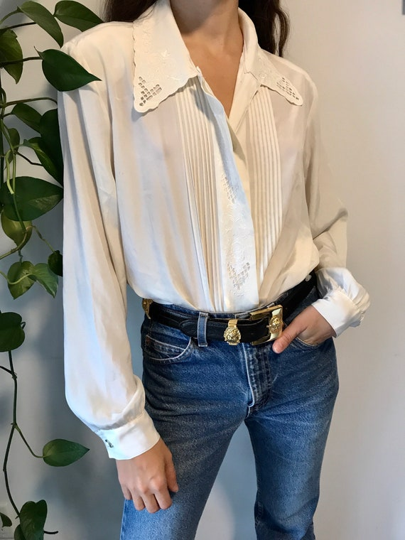 Vintage embroidered blouse / off white romantic m… - image 2