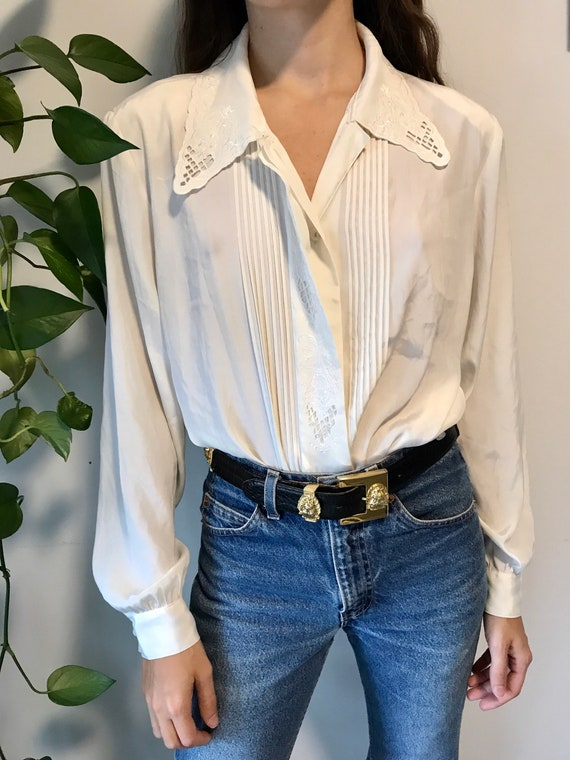 Vintage embroidered blouse / off white romantic m… - image 1