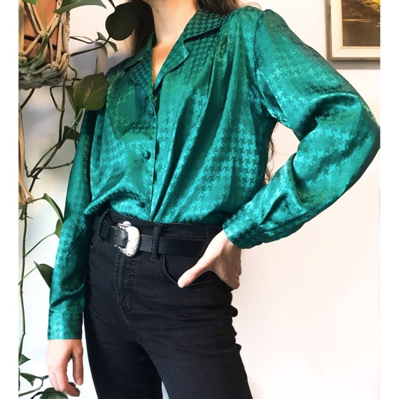 available VINTAGE 1970/'s Shiny Black Satin Disco Blouse With Multicolor Sparkle Accents
