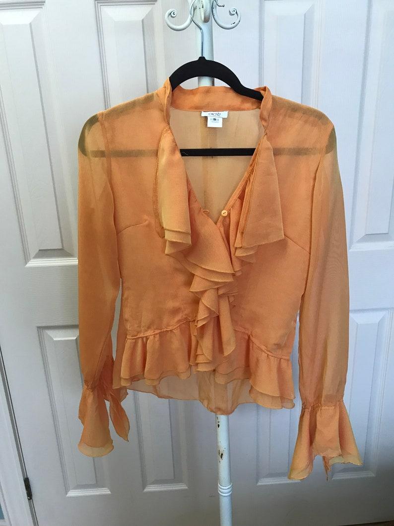 Vintage yellow Cach\u00e9 ruffled ruffle sheer blouse  frilly sheer blouse