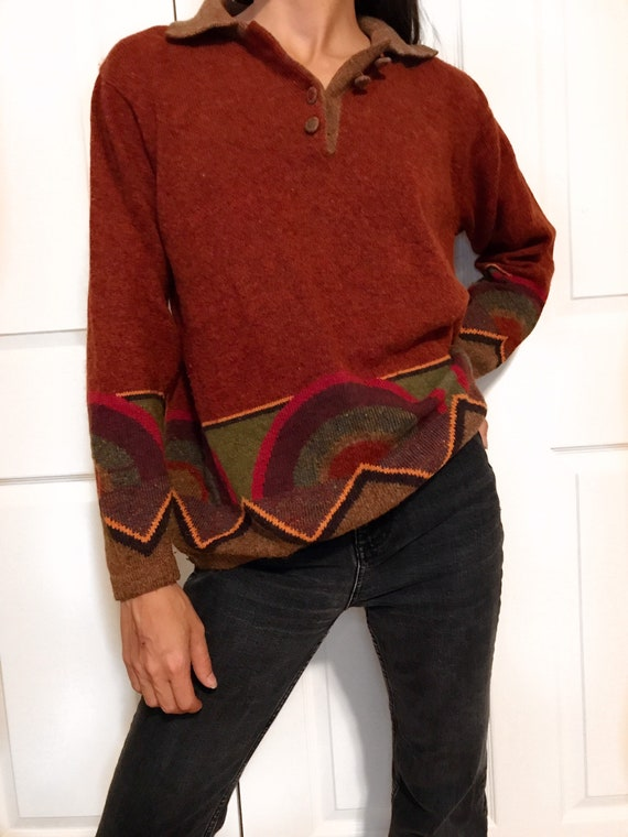 Vintage boho hippie sweater / long collared rust r