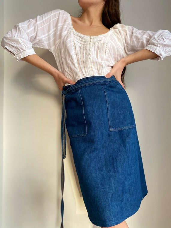 Vintage 70\u2019s Blue Jean Wrap Skirt