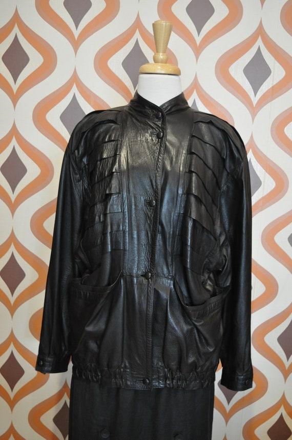 80s black leather jacket