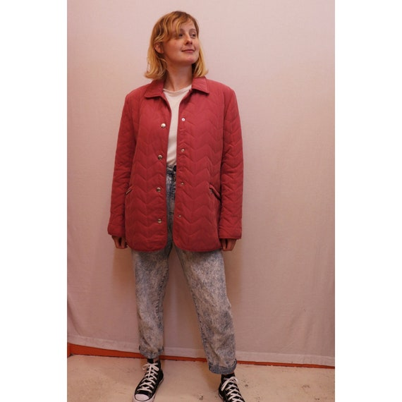 80s pink quilted jacket