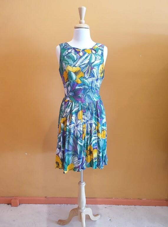 80s tropical print dress