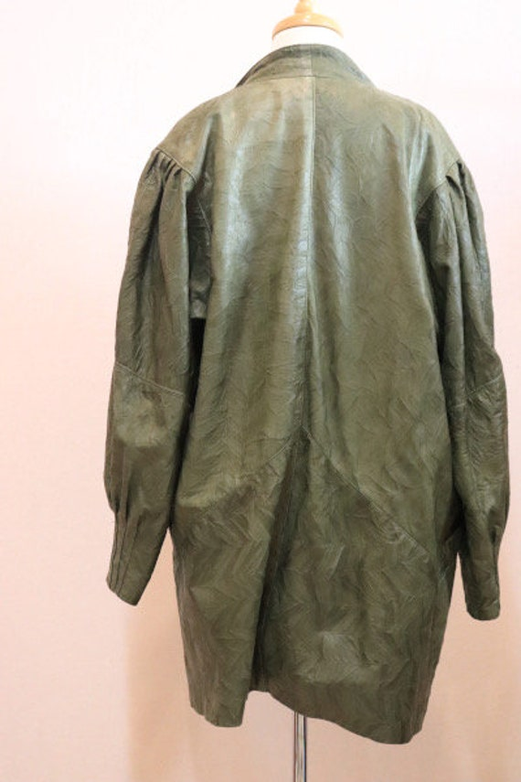 80s green leather jacket - image 4