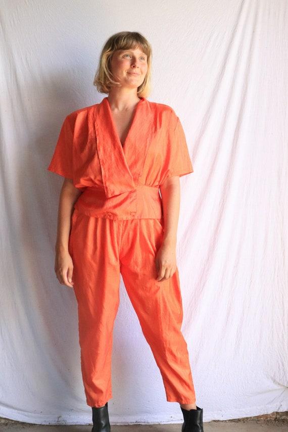 80s orange twin set, vintage, pants and blouse, si