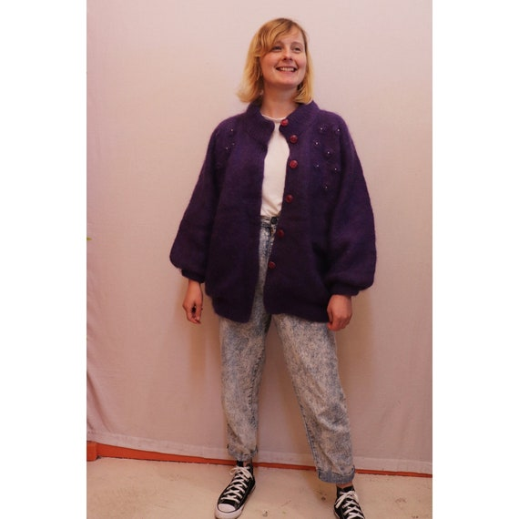 80s purple mohair cardigan with balloon sleeves