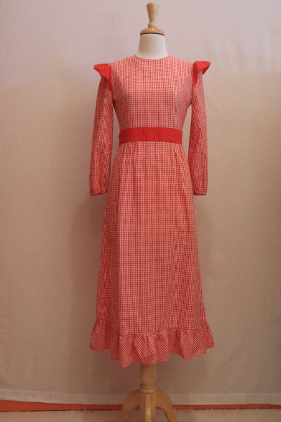 80s red gingham dress