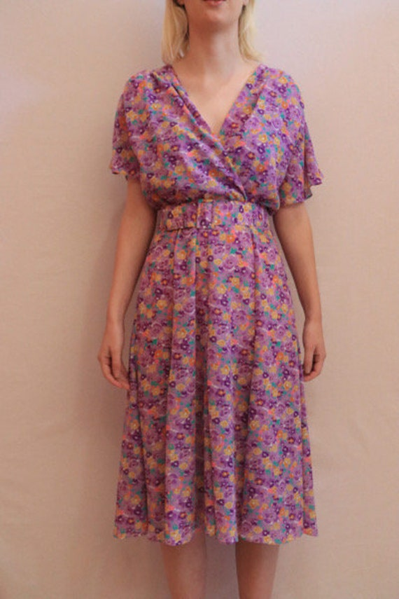 70s lilac floral dress