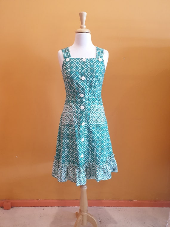 70s green cotton button up dress