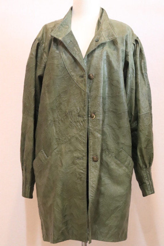 80s green leather jacket - image 3