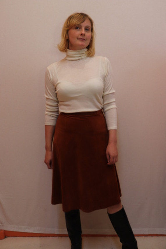 Brown 70s a-line skirt