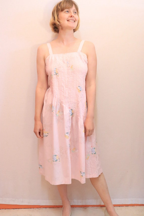 80s pink casual summer dress, vintage, size 10, si