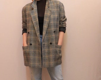 80s grey plaid double breasted blazer, tartan, size 10, size 12, jacket, vintage, wool