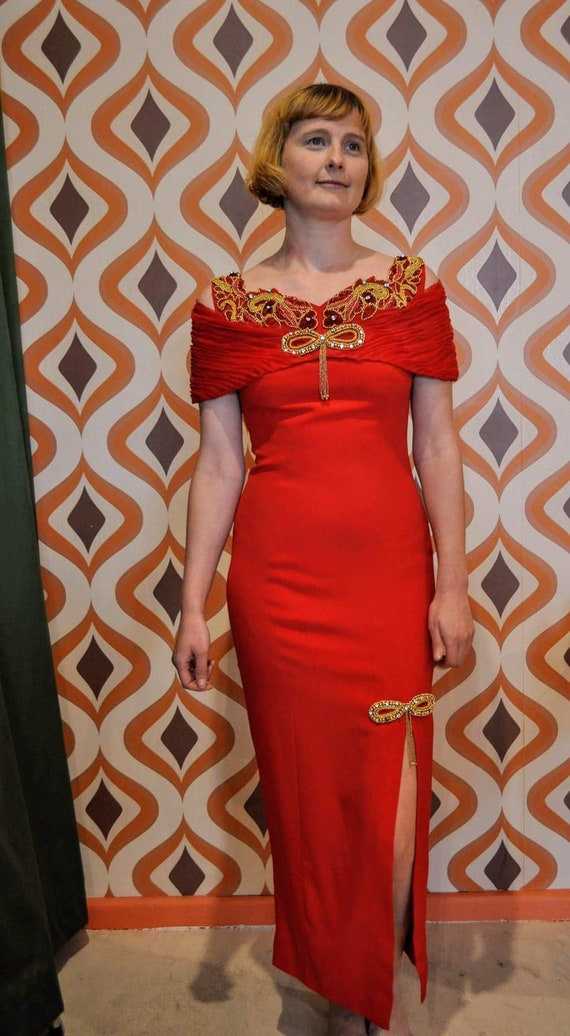 80s red evening gown