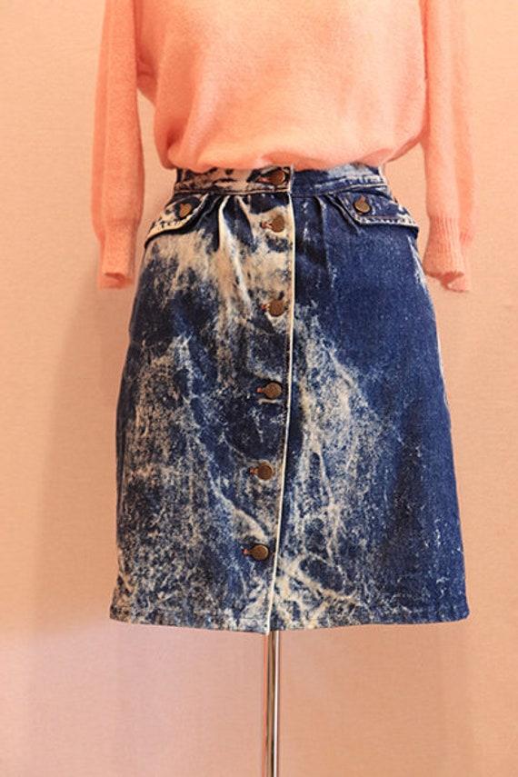 80s acid wash denim skirt