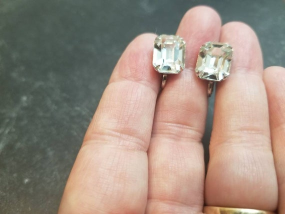 Hollywood Regency Round and Emerald Cut Rhinestone Screw Back Earrings
